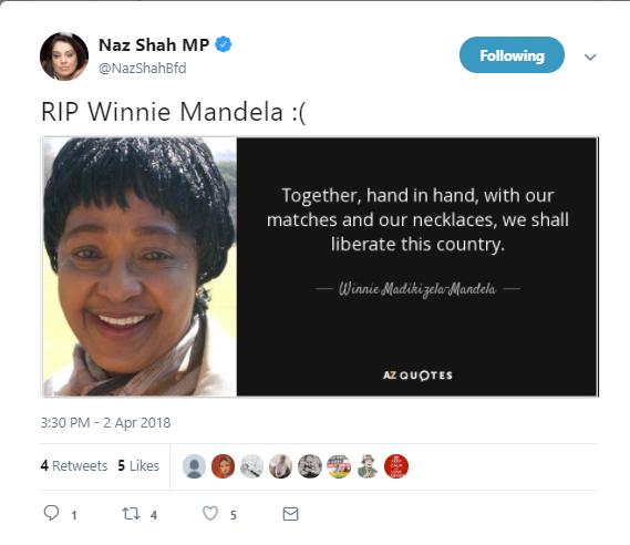 Image result for naz shah mandela