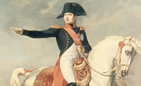 A painting of Napoleon on horseback