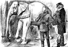 An engraving of the presentation of a white elephant